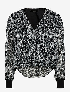 LS VICKY TOP - langærmede skjorter - abstract lurex b/