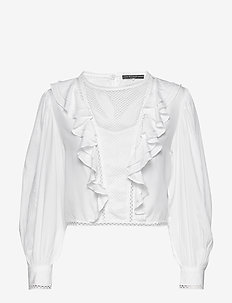 LS DAFNE TOP - long sleeved blouses - true white a000