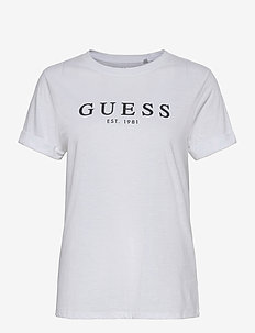 ES SS GUESS 1981 ROLL CUFF TEE - t-shirts - pure white