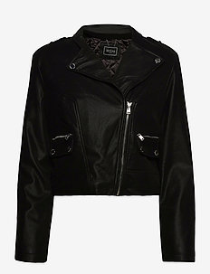 FRANCES JACKET - lederjacken - jet black a996