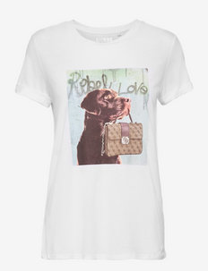 SS DOG AND PURSE ROLL SLV TEE - t-shirts - pure white