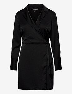 ES LS EDEN WRAP DRESS - cocktailklänningar - jet black a996