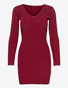 CECILE DRESS SWTR - bodycon dresses - beet juice red