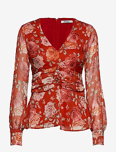 LS SOFIA TOP - FLOWER POWER RED
