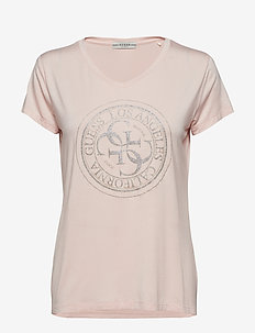 SS VN GLITTER STAMP TEE - PALE SAND