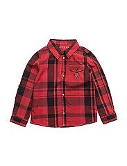 ROLL SLEEVE WOVEN SHIRT - RED BLACK CHECK