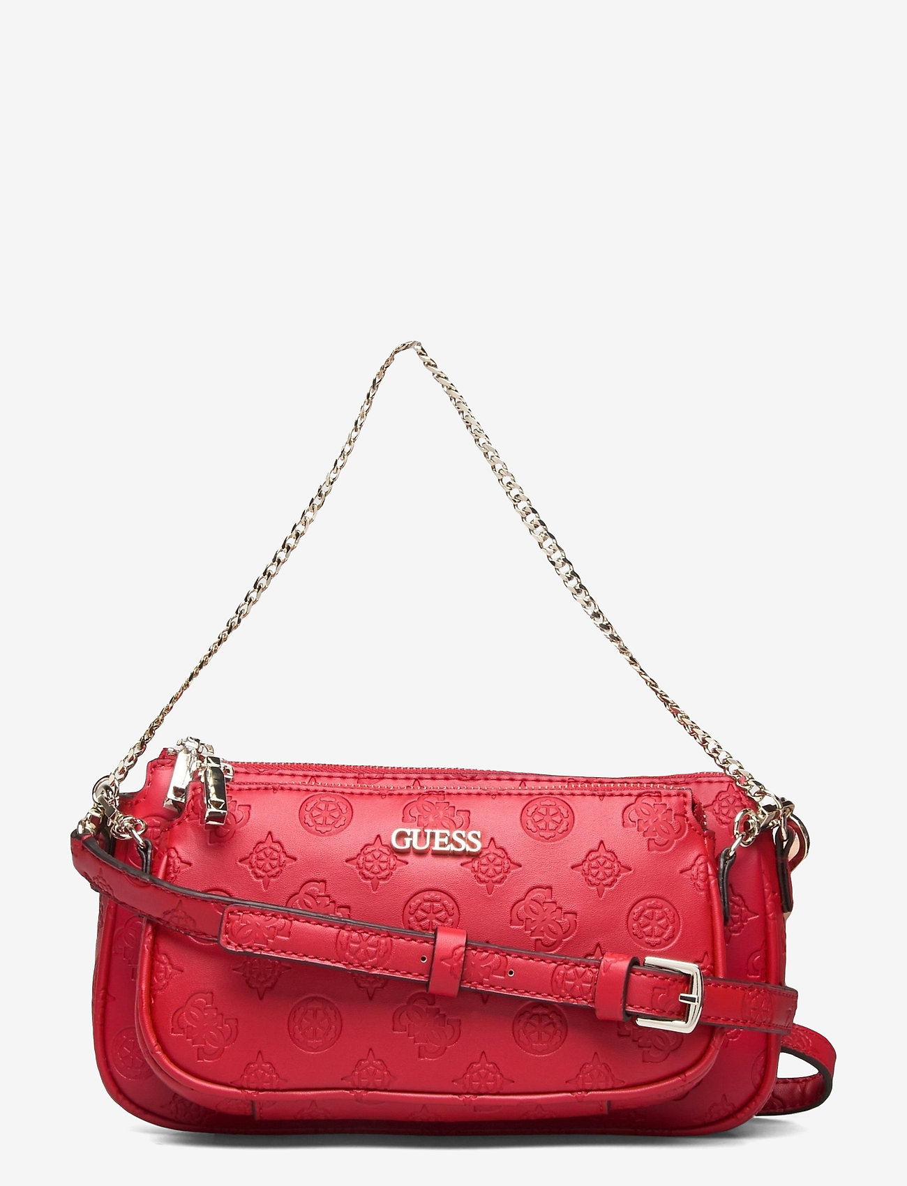 GUESS - DAYANE DOUBLE POUCH CROSSBODY - axelremsväskor - red - 0
