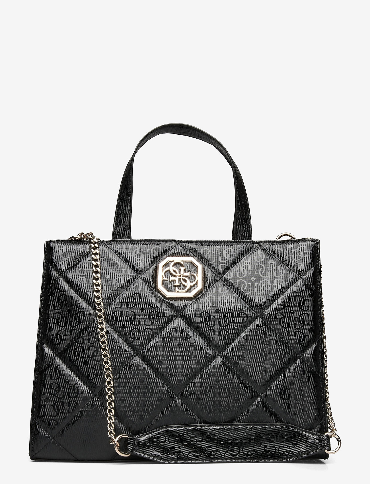 GUESS - DILLA ELITE SOCIETY SATCHEL - handväskor - black - 0