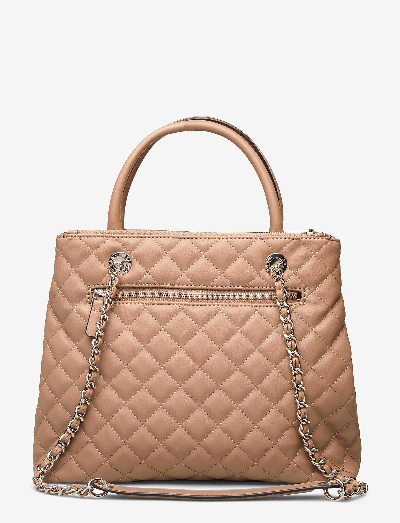 GUESS - ILLY SOCIETY SATCHEL - handväskor - beige - 1