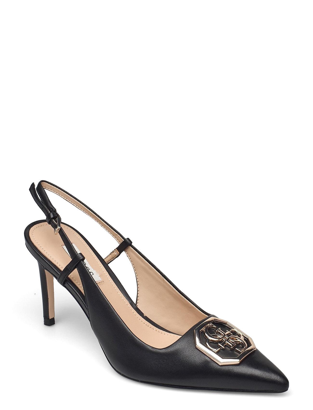 Aleny/Sandalo /Leather Shoes Heels Pumps Sling Backs Sort GUESS