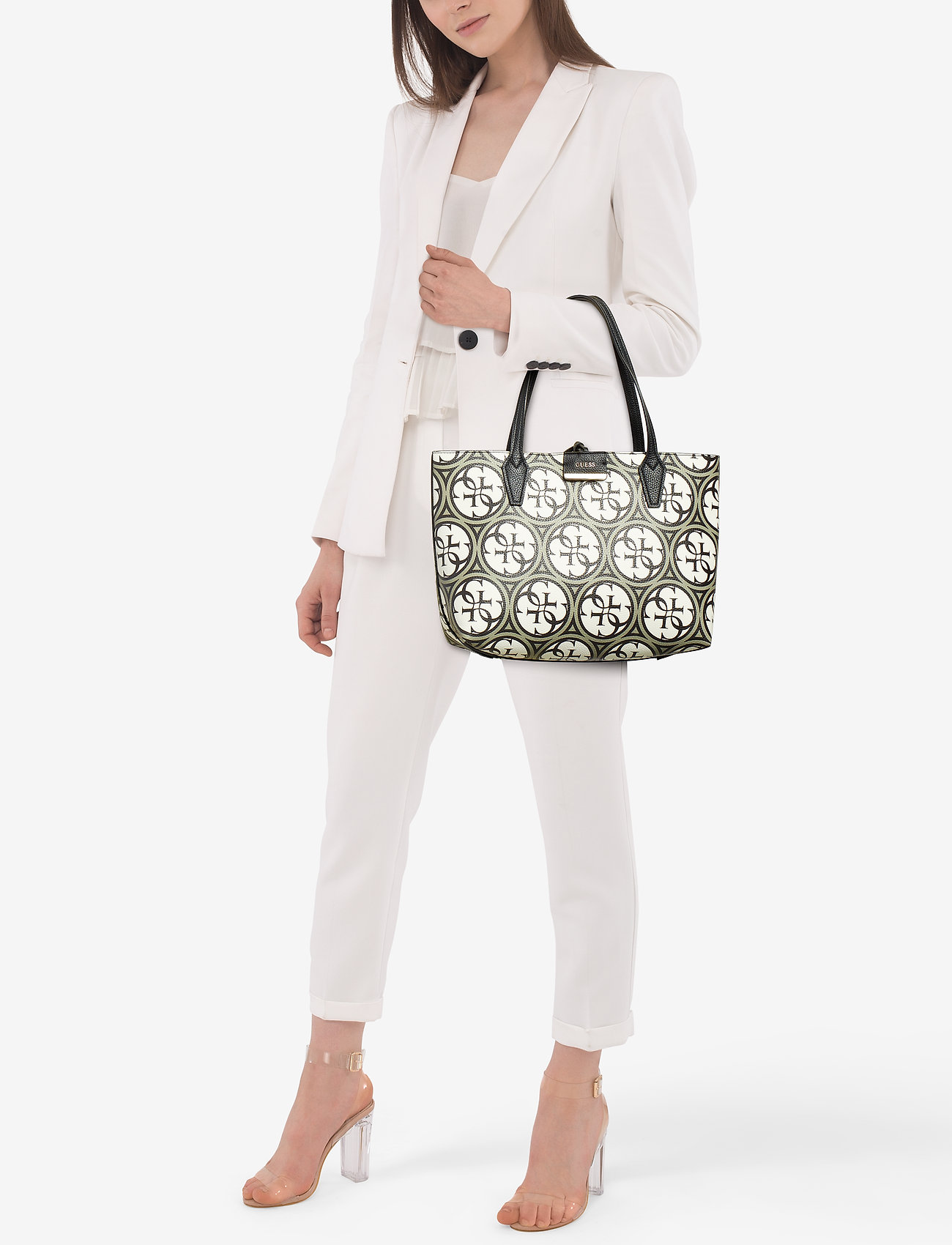 GUESS BOBBI INSIDE OUT TOTE - LOGO/PEWTER