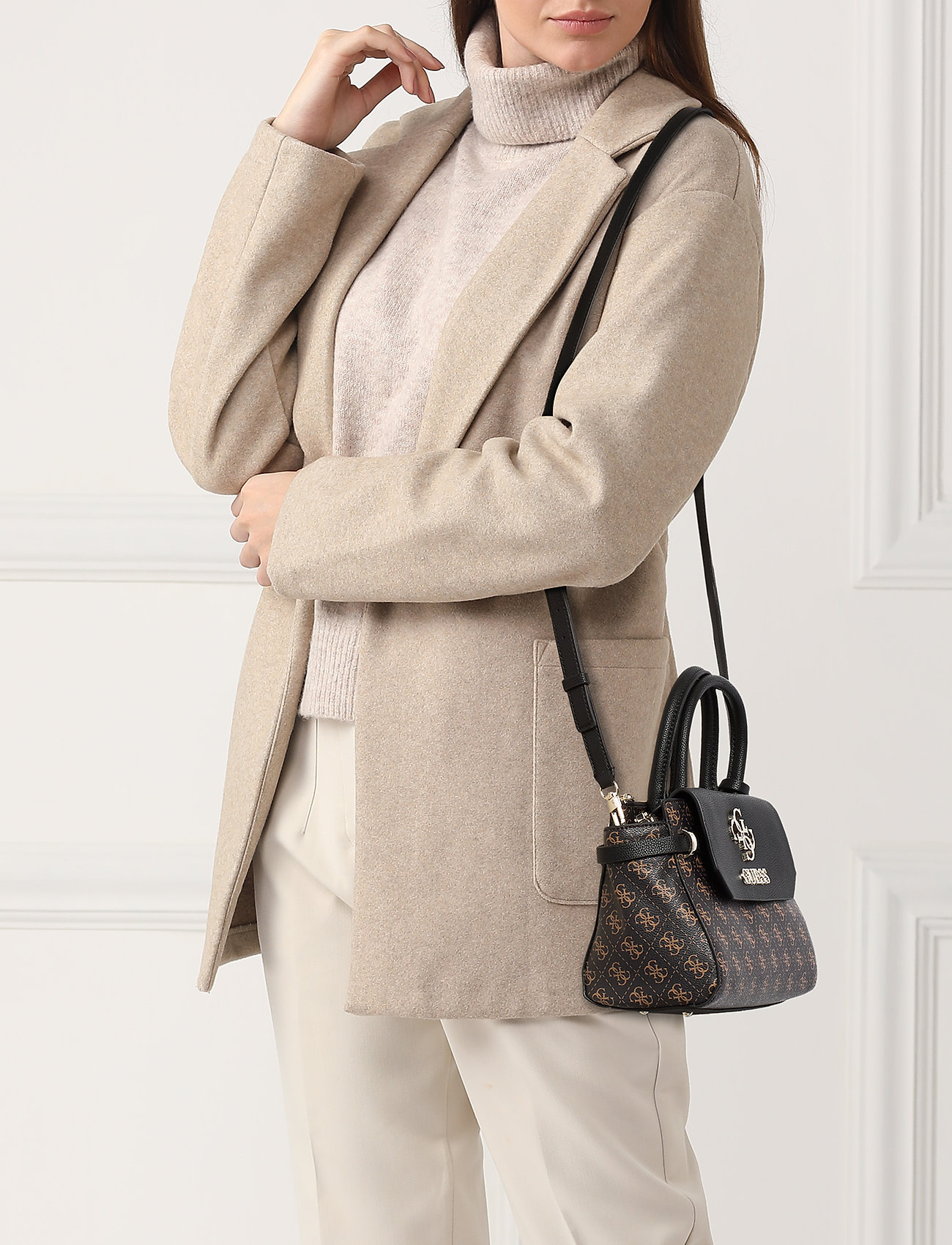 GUESS ESME SMALL SOCIETY SATCHEL - BROWN