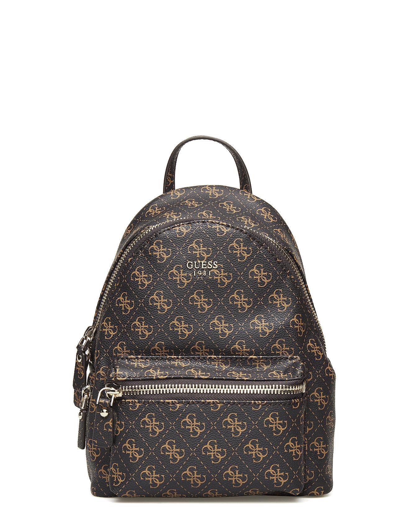 GUESS Leeza Small Backpack Rucksack Tasche Braun GUESS