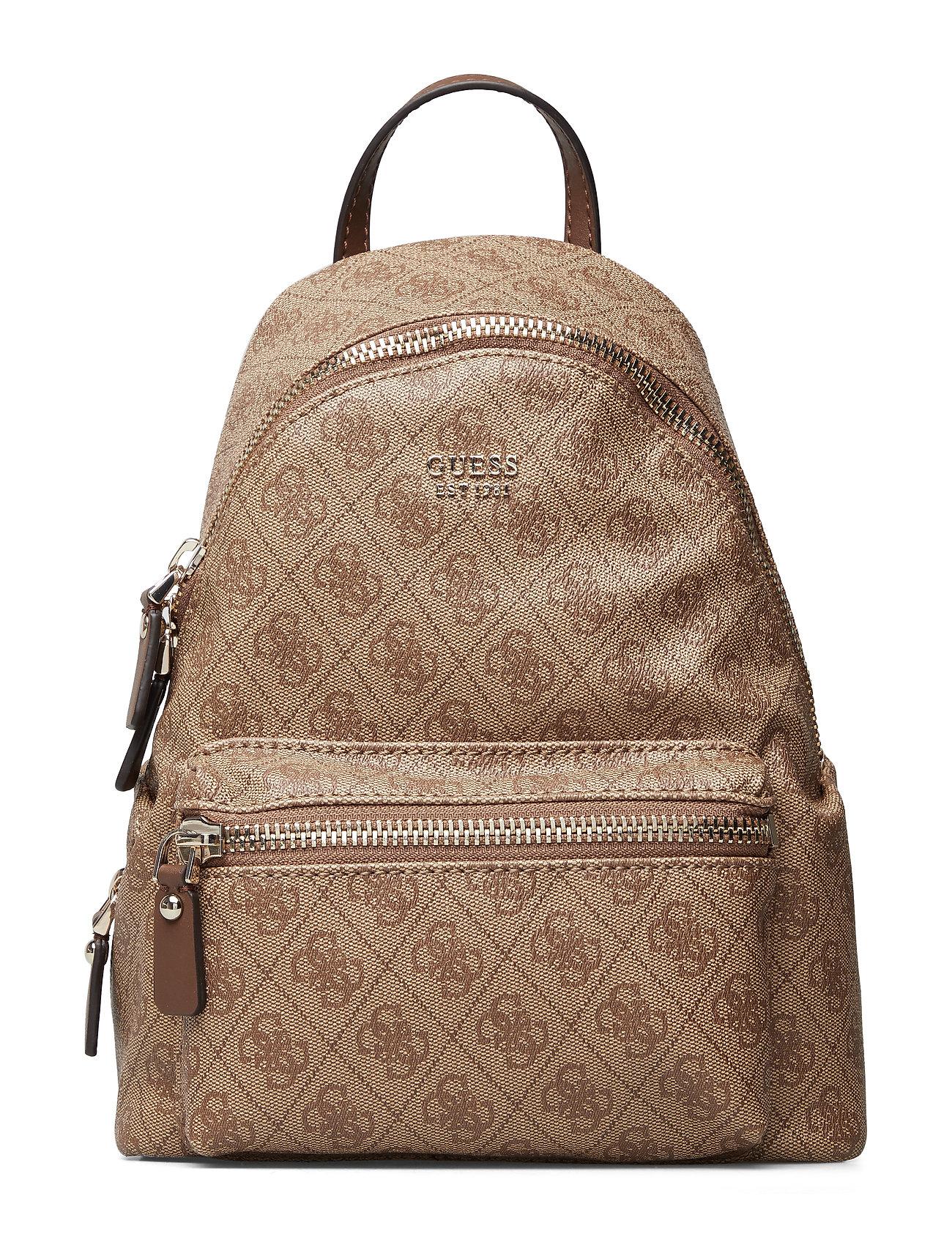 GUESS Leeza Small Backpack Rucksack Tasche Beige GUESS