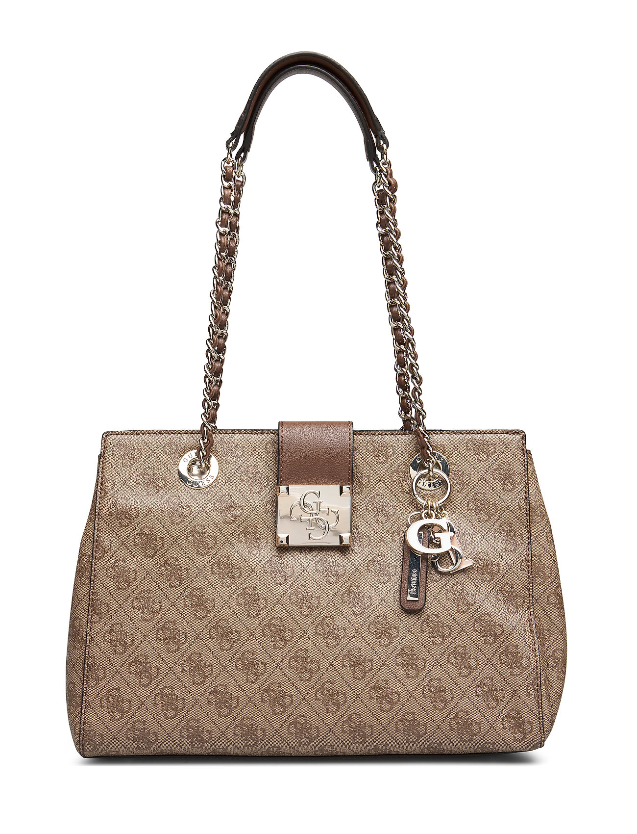 GUESS LOGO CITY LUXURY SATCHEL - BROWN