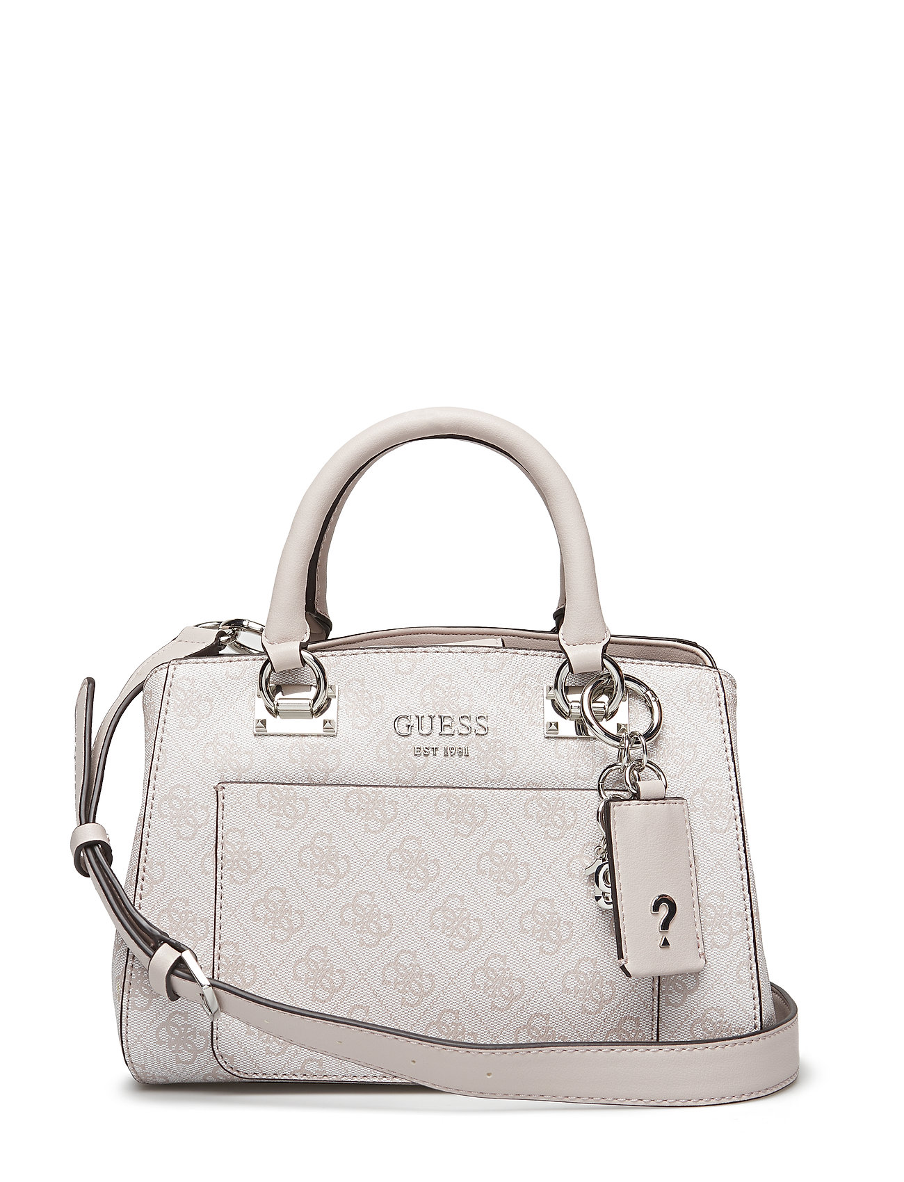 c48a72ed3edbc GUESS Kathryn Sml Girlfriend Satchel Bags Top Handle Bags Beige GUESS
