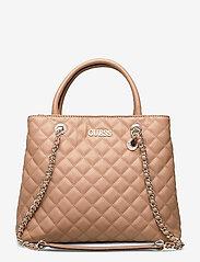 GUESS - ILLY SOCIETY SATCHEL - handväskor - beige - 0