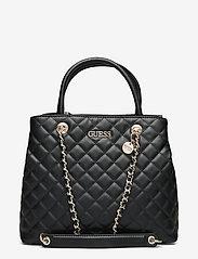 GUESS - ILLY SOCIETY SATCHEL - handväskor - black - 0