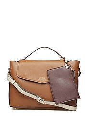 ELLA TOP HANDLE FLAP - COGNAC