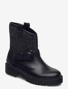 ORICA/STIVALETTO (BOOTIE)/LEAT - platte enkellaarsjes - black