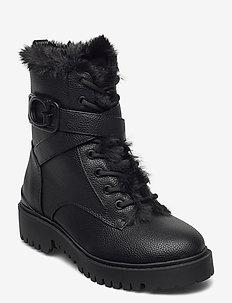 ORANA/STIVALETTO (BOOTIE)/LEAT - flat ankle boots - black/black