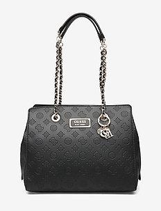 LOGO LOVE GIRLFRIEND SATCHEL - handbags - black