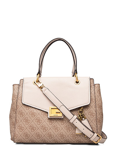Valy Small Girlfriend Satchel Bags Top Handle Bags Beige GUESS