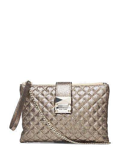 Dazzle Crossbody Top Zip Bags Small Shoulder Bags - Crossbody Bags Gold GUESS