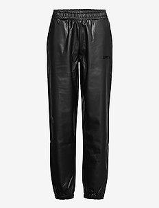 Fake Leather Track Suit Pant - pantalons en cuir - black