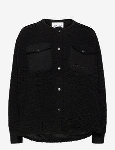 Checket Pile Shirt Jacket - sweatshirts en hoodies - black