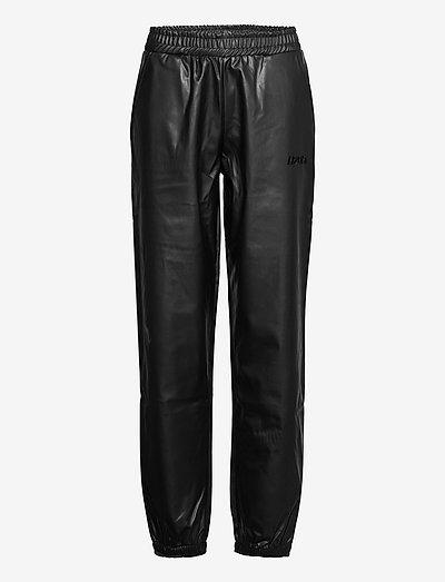 Fake Leather Track Suit Pant - leren broeken - black