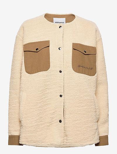 Checket Pile Shirt Jacket - sweatshirts & hoodies - beige