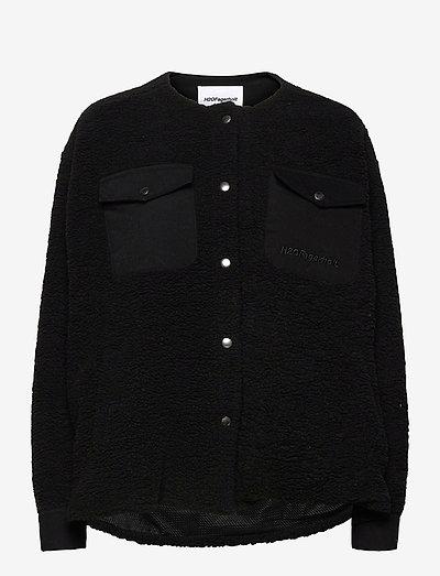 Checket Pile Shirt Jacket - sweatshirts & hoodies - black