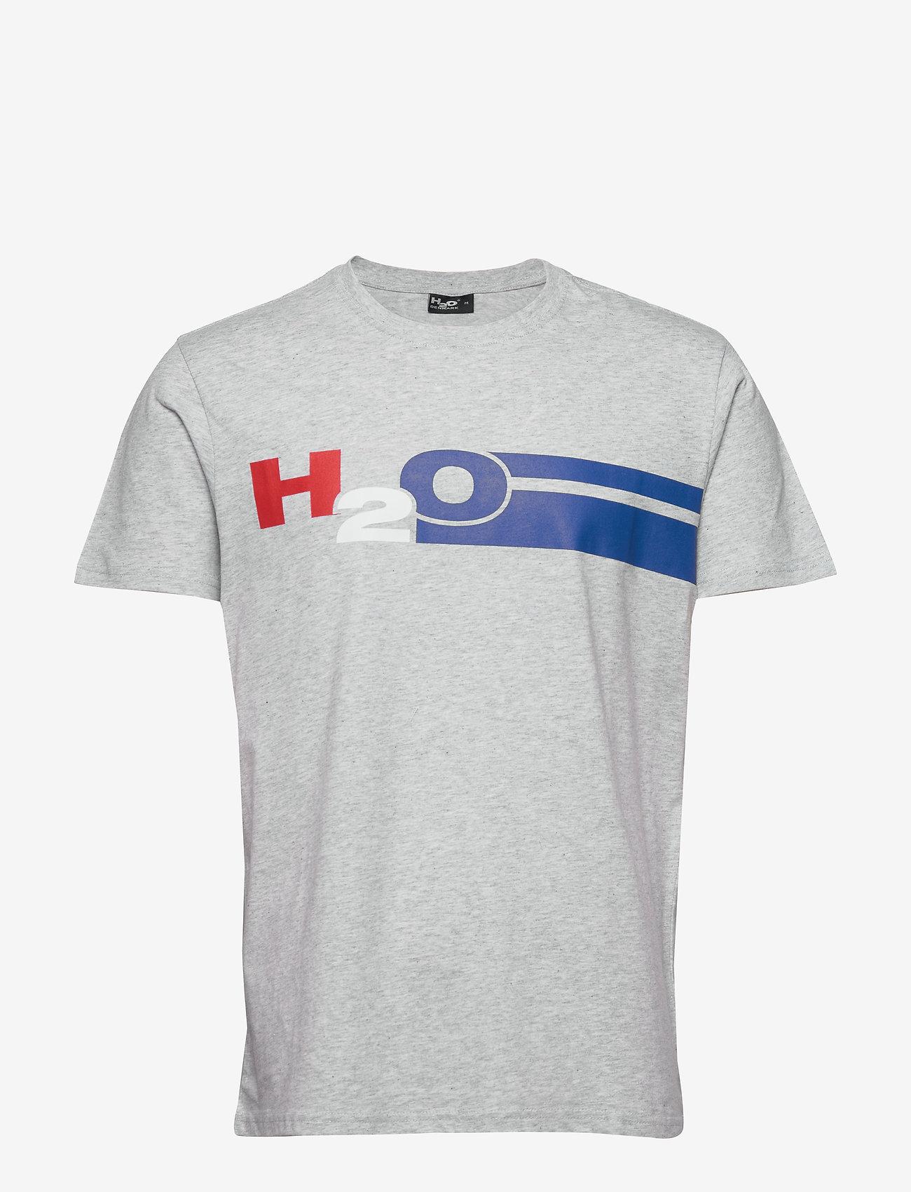 H2O - Skagen Tee - kortærmede t-shirts - lt. grey mel/red/white/surf blue - 0