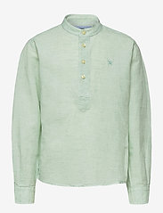 Hackett London - HALF PLACKET LINEN B - overhemden - mint - 0