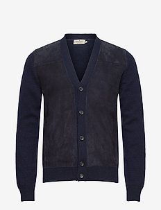 MYF SUEDE FRONT CARDI - basic knitwear - navy