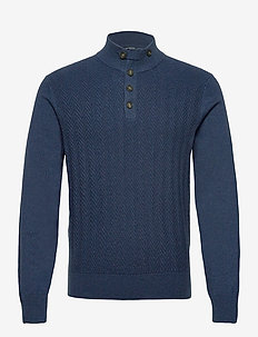 FINE TEXTURED HBUTTON - pulls demi-zip - navy