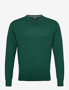 COTTON WOOL V NECK - basisstrikkeplagg - green