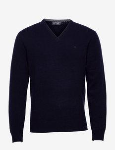 LAMBSWOOL V NECK - basic gebreide truien - blue