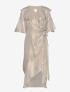 PETRONELLA frill dress - wrap dresses - gold