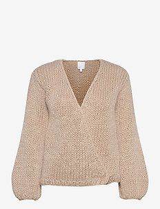 HUURRE handknitted wrap knit - cardigans - sand