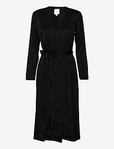 KAARNA midi wrap dress - kietaisumekot - black