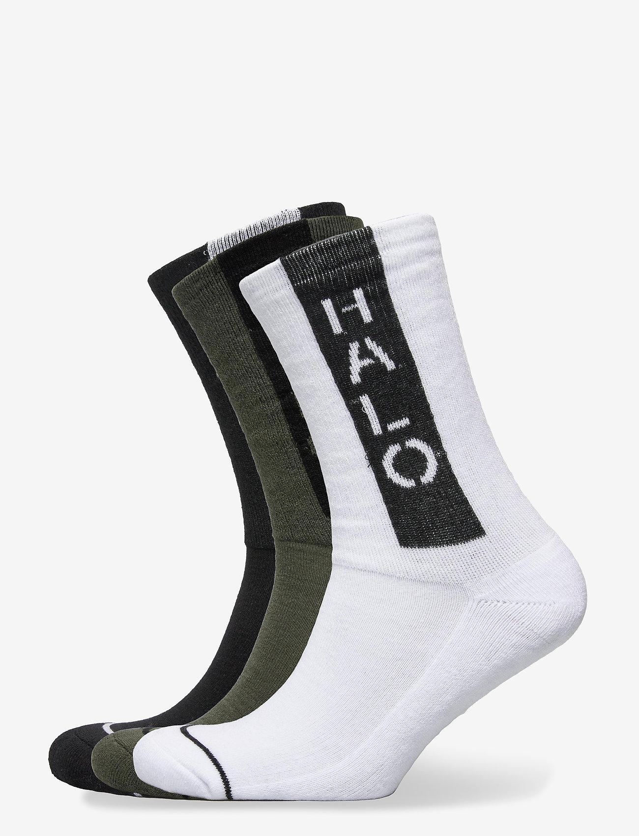 HALO - HALO Logo Socks 3-pack - tavalliset sukat - black/optic white/dark army - 0