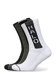 HALO Logo Socks 3-pack - BLACK/OPTIC WHITE/DARK ARMY