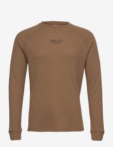 HALO WAFFLE LONGSLEEVE - långärmade t-shirts - vintage brown