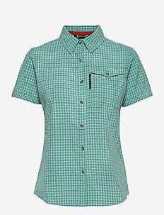 Leiri W SS check Shirt - kortärmade skjortor - canton green print