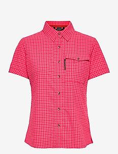 Leiri W SS check Shirt - kortärmade skjortor - diva pink print