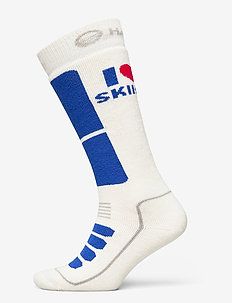 I Love Skiing Socks - regular socks - surf the web blue