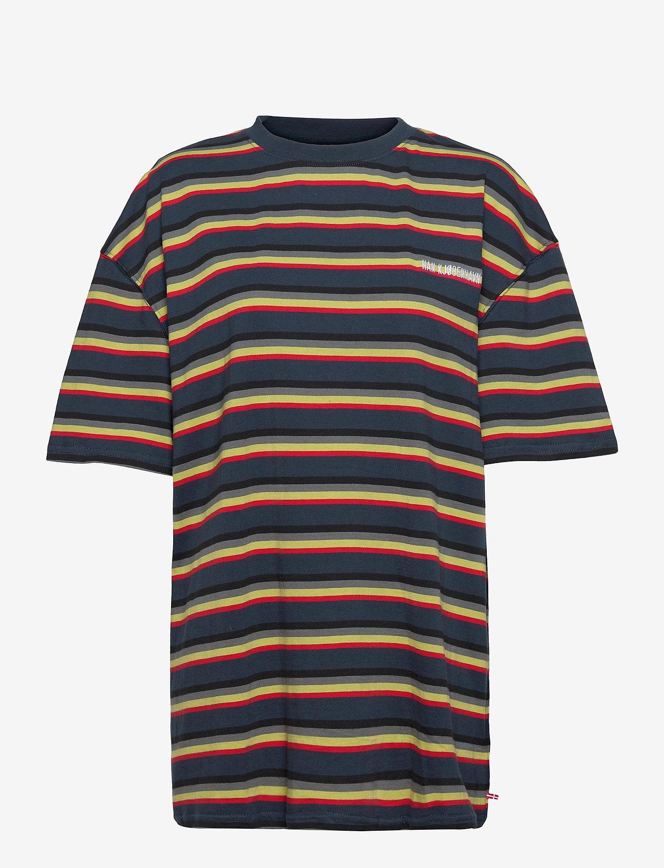 HAN Kjøbenhavn - Boyfriend Tee - t-shirts - blue stripe - 0