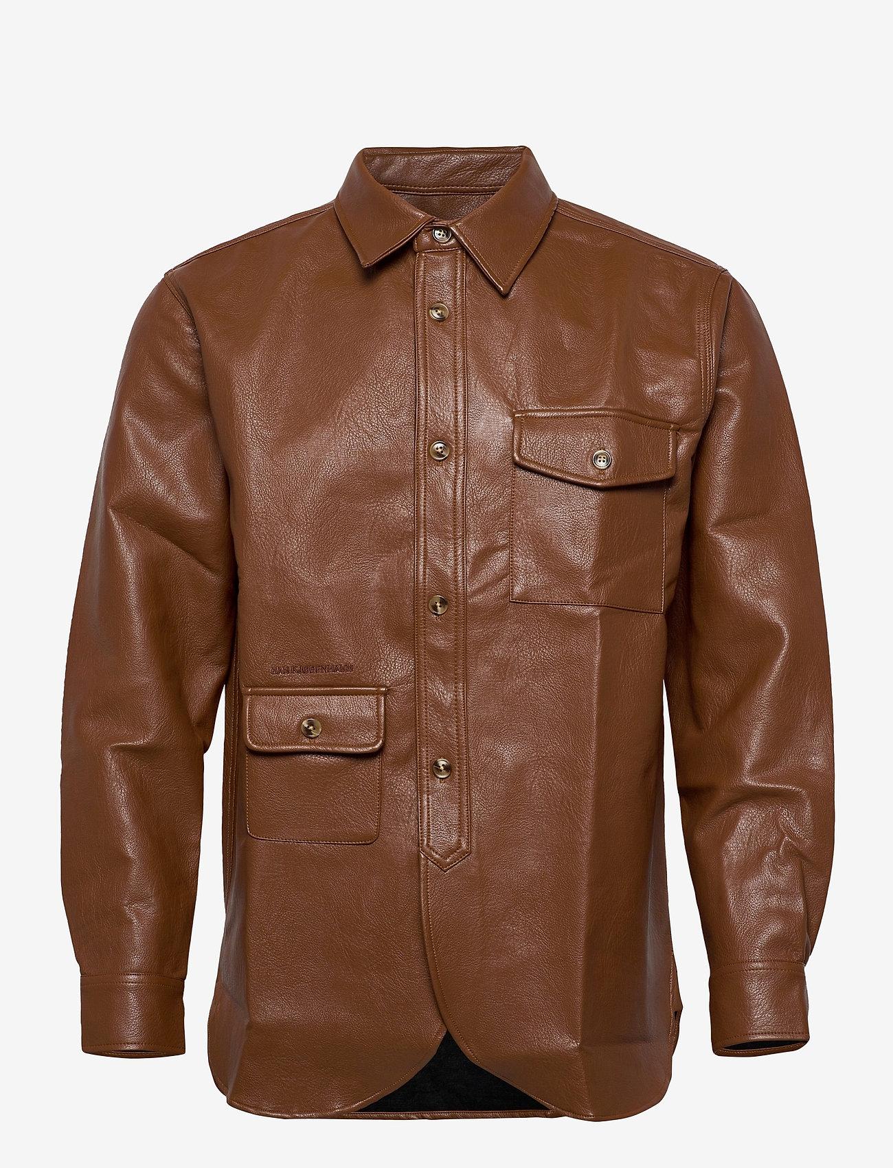 HAN Kjøbenhavn - Army Shirt - tops - brown faux leather - 1